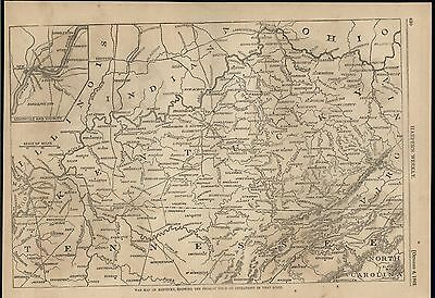 Kentucky Seat of War Field Operations Union Army 1862 antique engraved map