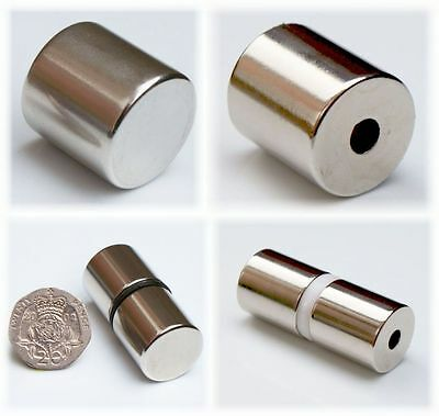 Variety of X-Large Neodymium Magnets CYLINDERS with HOLE ~ Quality, MEGA STRONG