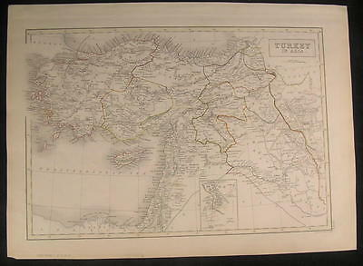Turkey in Asia Ottoman Empire Syria Kurdistan 1844 antique engraved color map