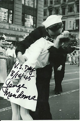 George Mendonsa 4x6 Signed Photo VJ Day Kiss World War 2 Pacific Theater WWII