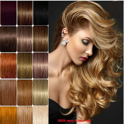 """15"""" 18"""" 20"""" 100% Remy Real Human Hair Premium Clip in Extensions Full Head 7PCs"""