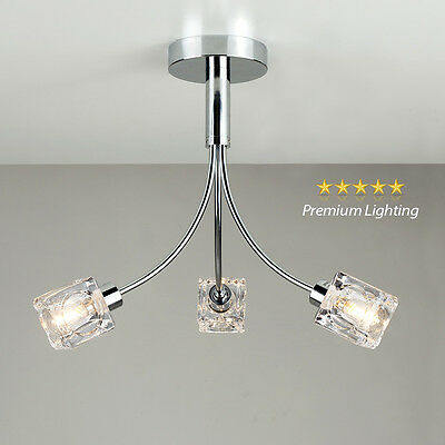 Modern Chrome / Clear Glass Ice Cube 3 Way Flush Ceiling Light Fitting Lighting