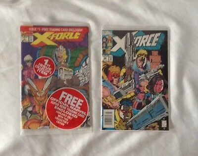 Lot Of2 X-Force Marvel Comic Books: (1991-93) SEALED, NEVER OPENED, Trading Card