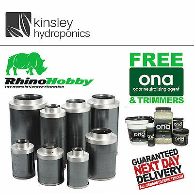 Rhino Hobby Carbon Filters Sizes 4 5 6 8 10 12 Inch Hydroponics FREE ITEMS
