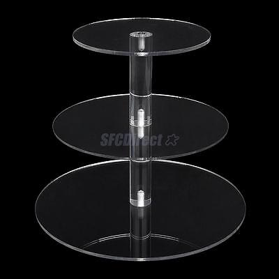 3 Tier Cupcake Stand Clear Acrylic Maypole Round Wedding Party Cake Holder