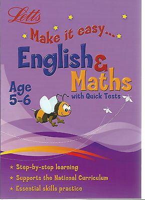 Letts Make It Easy english & maths with quick tests step-step learning AGE 5-6
