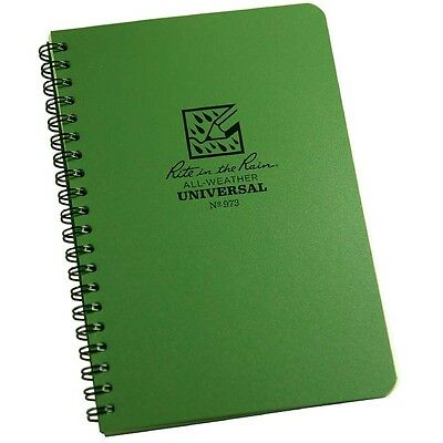 Rite in the Rain 973 Universal Side Spiral Notebook Green, 4 5/8 x 7