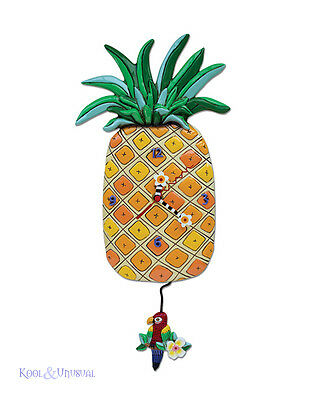 "Gorgeous ""Island Time"" Pineapple Designer Wall Clock by Allen Designs"