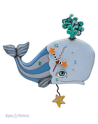 "Gorgeous ""Spouting Off"" Whale Designer Wall Clock by Allen Designs"