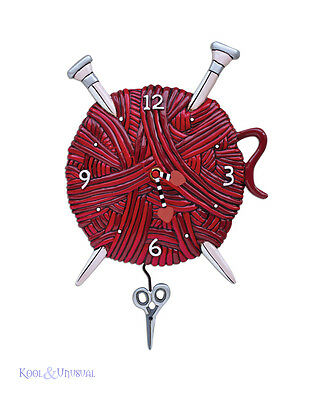 """Red """"Knitting Love"""" Yarn and Needles Designer Wall Clock by Allen Designs"""