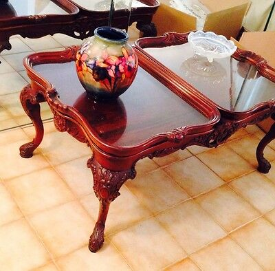 Antique Chippendale Style Coffee Table Cabriole Legs Removable Trays Exquisite!