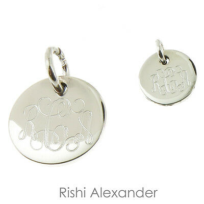 925 Sterling Silver Round Monogram Charm or Personalized Pendant 10mm to 18mm