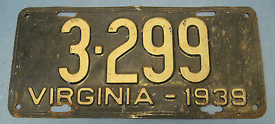 1939 Virginia License Plate - NEAT 4 digit #