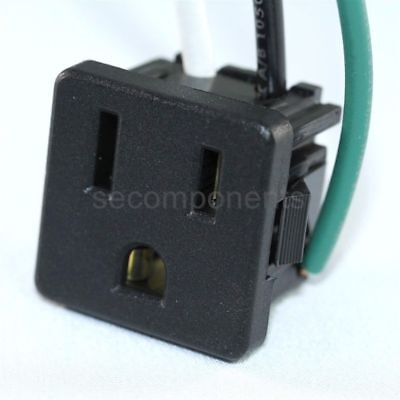 Leviton Receptacle Power Plug Snap-In Black 15 A 3 W