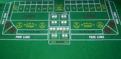 Dark GREEN CRAPS / DICE Casino Cloth - Layout - Baize Free P+P - Vivid Colours