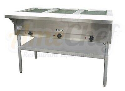 3 Bay Open Well Steam Table, Electric Stainless Steel, Adcraft ST-120/3