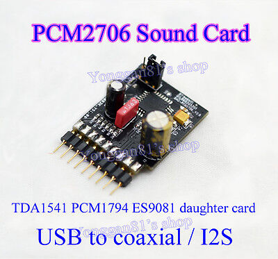 PCM2706 Sound Card USB to Coaxial / I2S Daughter Card for TDA1541 PCM1794 ES9081