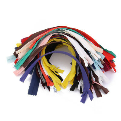 """50pcs Assorted CONCEALED INVISIBLE NYLON ZIPS SEWING CLOSED END ZIPPERS 7"""""""