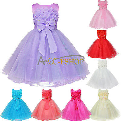 Formal Flower Girls Kids Wedding Bridesmaid Party Pageant Princess Chiffon Dress