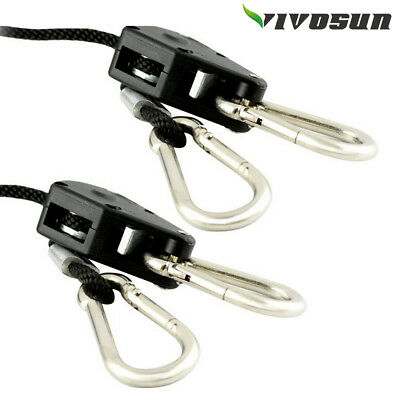 "VIVOSUN 1/8"" inch Heavy Duty Clip Rope Hangers for Grow Light LED Reflector Hood"