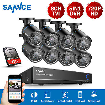 SANNCE 8CH Channel 720P HDMI CCTV DVR Outdoor IR CUT Camera Security System +1TB