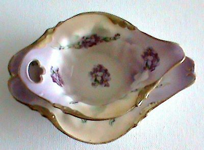 Antique Sauce Boat and Tray - Colour - Purple Flowers, Mainly Mauve