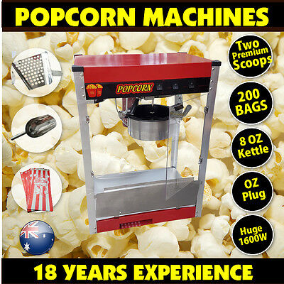 1600W Commercial Stainless Steel Popcorn Machine Red Pop Corn Warmer Cooker Popp