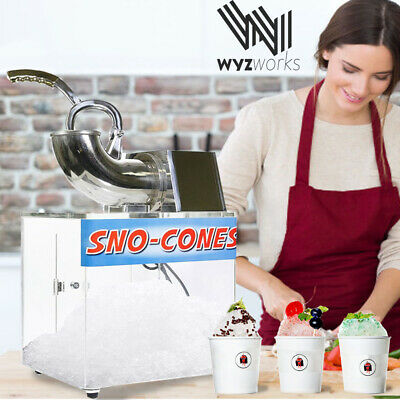 Clear Box Ice Shaver Machine Sno Cone Hawaiian Shaved Crushed Stainless Steel