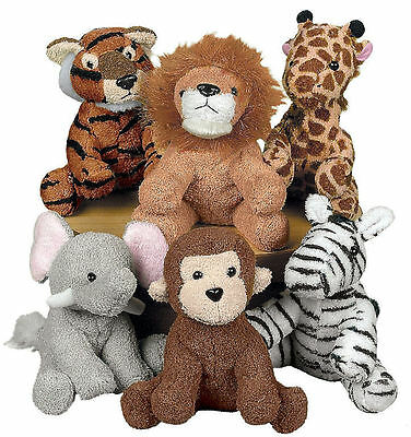 6 Zoo/Safari/Jungle PLUSH STUFFED ANIMAL ASSORTMENT Brand NEW Adorable