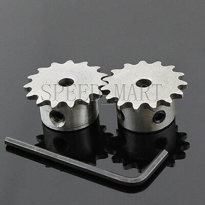 2 PCS 6mm Bore 15 Teeth 15T Metal Pilot Motor Gear Roller Chain Drive Sprocket
