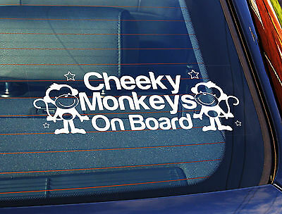 Static Cling Window Car Sign//Decal Cheeky Little Monkey On Board Girl 10