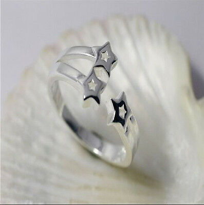 925 Solid Sterling Silver Plated Women/Men NEW Fashion Stars Ring Gift SIZE OPEN