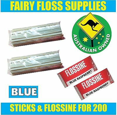 FAIRY FLOSS STICKS & BLUE FLOSSINE - 200 pack - Suit all machines -Top Quality