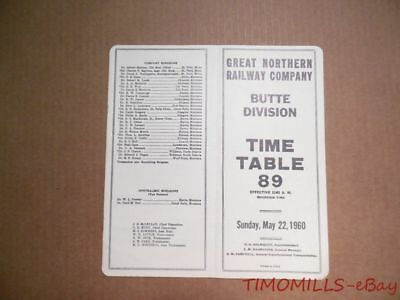 1960 Great Northern Railway Company Employee Timetable 89 Butte Division GNR ETT