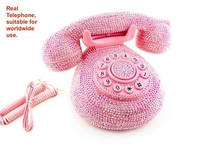 BlingUstyle AB pink crystal retro design home phone for home office and gift
