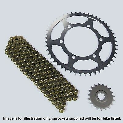 Yamaha YBR125 2007 Heavy Duty Gold Chain and Sprocket Kit Set