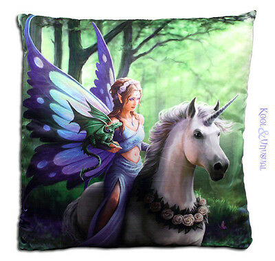 "Anne Stokes Large Cushion: ""Realm of Enchantment"" Fairy with Unicorn"
