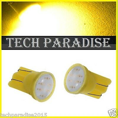 2x Ampoule T10 / W5W / W3W LED COB 3W 12 Chip Jaune Yellow veilleuse lampe light