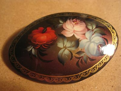 Signed Russian? Handpainted Oval Floral Flower Pin Brooch