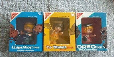 NABISCO COOKIE DOLLS NEW Complete Set of 3 IN BOXES FIG NEWTON, OREO &CHIPS AHOY
