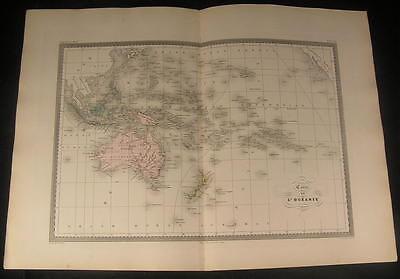 Oceania Australia New Zealand Hawaii Polynesia c.1870 antique engraved color map