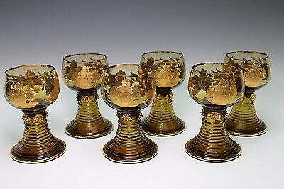 St. Bartholoma Souvenir Gold Gilt Glass Set of 6 German Wine Roemer Roemers
