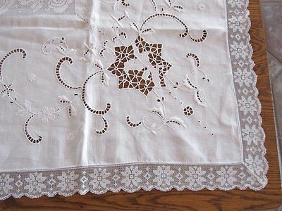 Antique Italian Needle Filet Lace Embroidered Linen Tablecloth Roses Lush Work