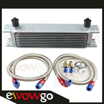 10-Row Aluminum Engine Oil Cooler+Relocation Kit+2 X Ss Braided Lines