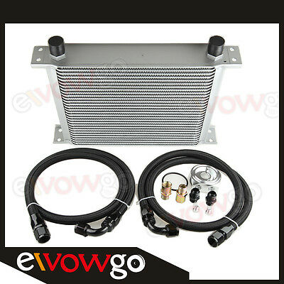 30-ROW ALUMINUM ENGINE OIL COOLER+RELOCATION KIT+Nylon Cover Braided LINES