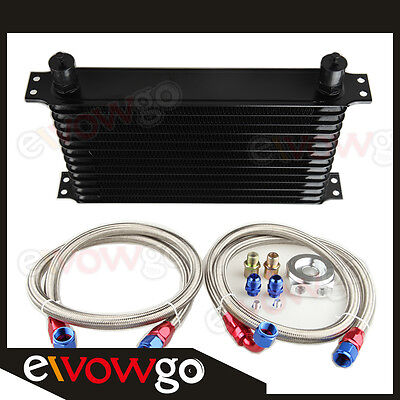 13-Row Engine Oil Cooler Aluminum Turbo+Relocation Kit+2 X Ss Braided Lines