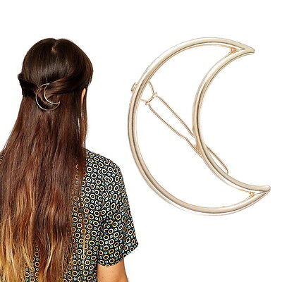 1PC Fashion Women Girls Gold Plated Hollow Out Crescent Moon Hair Clip Hairpin