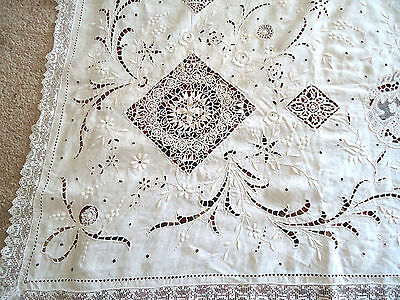 Ant French* Historic*exquisite Tablecloth-Magnificent!late 19Th Cent. Grandiose