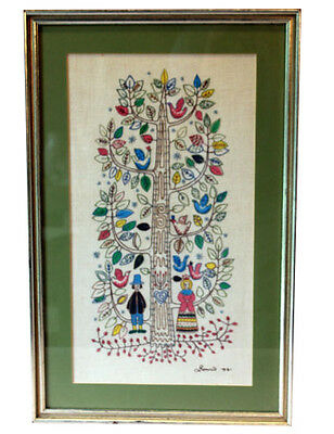 Vintage Tree of Life Embroidery Needlepoint Folk PA Dutch Pilgrims Marriage