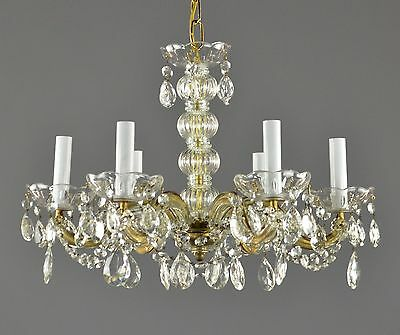 Marie Therese Crystal Chandelier c1950 Vintage Antique French Ornate Restored